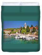 Prvic Luka Island Village Waterfront View Duvet Cover