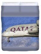 Qatar Airlines Airbus A380 Art Duvet Cover