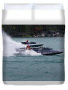 Racing Hydroplanes Boats On The Detroit River For Gold Cup Duvet Cover