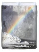 Rainbow Over Skogarfoss Waterfall Duvet Cover