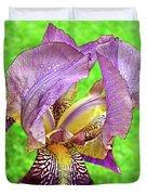Raindrops On Purple And Yellow Iris Duvet Cover