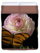 Ranunculus And Butterfly Duvet Cover