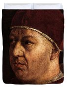 Raphael Pope Leo X With Cardinals Giulio De  Medici And Luigi De  Rossi  Duvet Cover