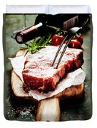Raw Beef Steak And Wine Duvet Cover