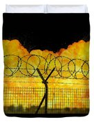 Realistic Orange Fire Explosion Behind Restricted Area Barbed Wire Fence Duvet Cover