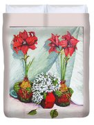 Red Amaryllis With Shooting Star Hydrangea Duvet Cover