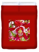 Red And White Columbine At Pilgrim Place In Claremont-california  Duvet Cover