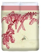Red Autumnal Leaves Insect Duvet Cover