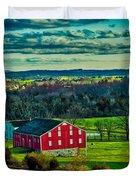 Red Barn - Pennsylvania Duvet Cover