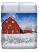 Red Barn, Winter, Grande Pointe Duvet Cover