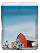 Red Barn With Snow Duvet Cover