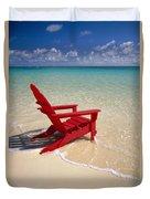 Red Beach Chair Duvet Cover