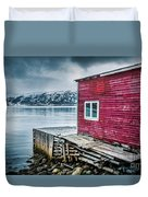 Red Boathouse In Norris Point, Newfoundland Duvet Cover