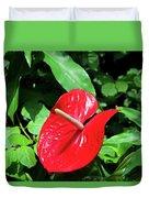 Red Flamingo Flower II Duvet Cover
