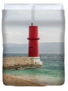 Red Lighthouse Of Cres On A Cloudy Day In Spring Duvet Cover