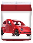 Red Retro Wooden Toy Car Isolated On White Background Duvet Cover
