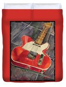 Red Telecaster Duvet Cover
