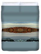 Mirrored Panoramic, Reflecting Fall  From The Banks Of  Bishop Pond Duvet Cover