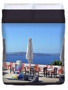 Restaurant By The Aegean Sea  In Santorini, Greece  Duvet Cover