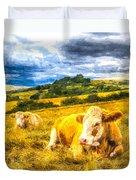 Resting Cows Art Duvet Cover