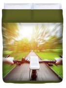 Riding A Bike First Person Perspective. Smartphone On Handlebar. Speed Motion Blur Duvet Cover