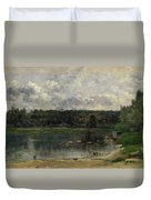 River Scene With Ducks Duvet Cover