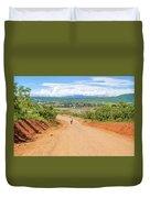Road Landscape In Tanzania Duvet Cover
