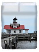 Roanoke Marshes Lighthouse Duvet Cover