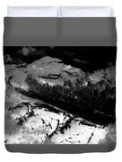 Rocky Mountains In Colorado With Snow Aerial Black And White Duvet Cover