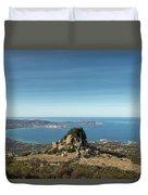 Rocky Outcrop Above Calvi Bay In Corsica Duvet Cover