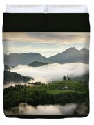Rolling Fog At Sunrise In The Skofjelosko Hills With St Thomas C Duvet Cover