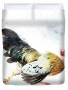 Rooster Running Duvet Cover