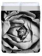 Rose Closeup In Monochrome Duvet Cover