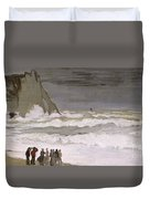 Rough Sea At Etretat Duvet Cover