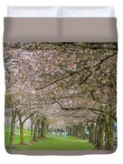 Rows Of Cherry Blossom Trees In Spring Duvet Cover