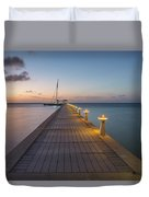 Rum Point Pier At Sunset Duvet Cover