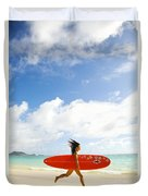 Running With Surfboard Duvet Cover