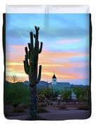 Saguaro Cactus And Church Duvet Cover