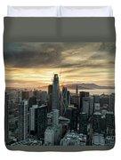 San Francisco City Skyline At Sunset Aerial Duvet Cover