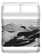 Monochrome Sand Dunes And Rocky Mountains Panorama Duvet Cover