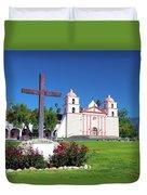 Santa Barbara Mission And Cross Duvet Cover