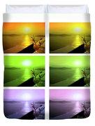 Santorini Sunsets Duvet Cover