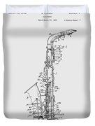 Saxophone Patent Drawing From 1933 Duvet Cover