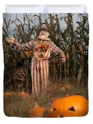 Scarecrow In A Corn Field Duvet Cover