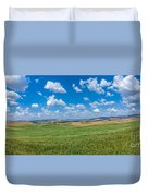 Scenic Tuscany Landscape With Rolling Hills In Val D'orcia, Ital Duvet Cover