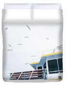 Seagulls Over Ferry Boat Duvet Cover