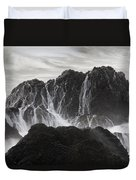 Seal Rocks Waves And Rocks 3 Bw Duvet Cover