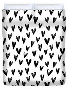 Seamless Pattern With Hand Drawn Hearts.  Duvet Cover