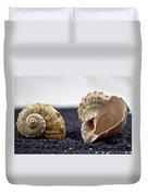 Seashells On Black Sand Duvet Cover