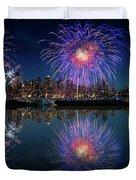 Seattle Skyline And Fireworks Duvet Cover